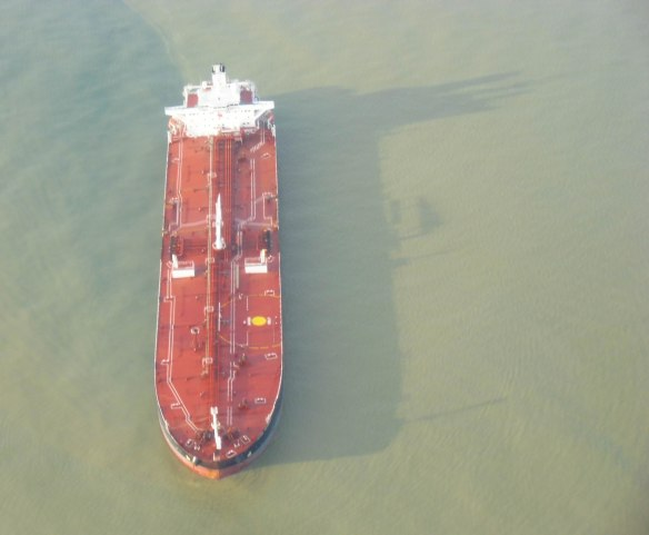 a tank ship underway