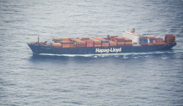 a container ship underway