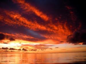 orange sunrise, Tarawa, Kiribati