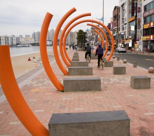 orange wave (sculpture on Gwangali Beach Korea)