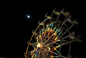 Full moon over the Ferris wheel